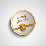 Birthday card sticker with gold ribbon