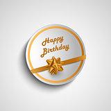 Birthday card sticker with gold ribbon