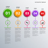 Info graphic with colorful design circles pointers template