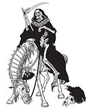 symbol of death sitting on a horseback