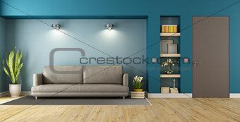 Blue and brown modern livingroom