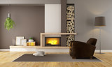 Living room with fireplace and leather armchair