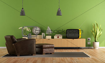 Green Living room with retro  tv