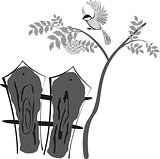 Black and white stylized drawing, bird sitting on a tree Rowan. Below is a fence. EPS10 vector illustration