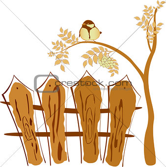 Autumn drawing, bird sitting on a tree Rowan. EPS10 vector illustration