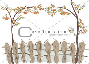 Frame in the form of a fence and rowan. EPS10 vector illustration.
