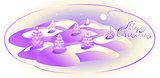 Card with monochrome Christmas trees. Christmas greeting. EPS10 vector illustration