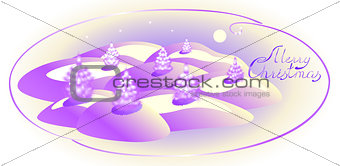 Card with monochrome Christmas trees. Christmas greeting. EPS10 vector illustration
