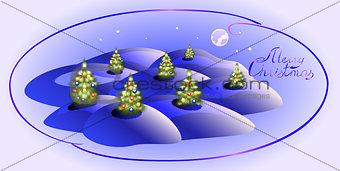 Card with Christmas trees. Christmas greeting. EPS10 vector illustration