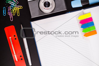 Office supplies and camera