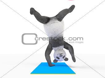 animal character personage panda doing yoga