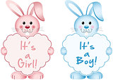 Bunny with heart baby girl and boy