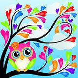 Cute owl on heart tree