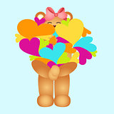 Girl teddy bear holding multiple colored hearts