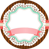 Vintage round label with blank banner