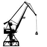 Working crane in sea port for cargo industry design. Vector illustration