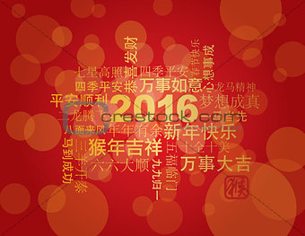 2016 Chinese New Year Word Cloud Red Background