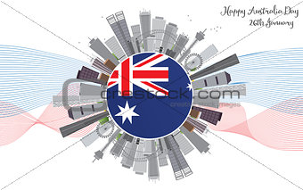 Australia Day Background with Gray Buildings.