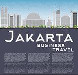 Jakarta skyline with grey landmarks, blue sky and copy space.