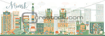Abstract Minsk skyline with color buildings.