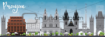 Prague skyline with grey landmarks and blue sky