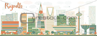 Abstract Riyadh skyline with Color buildings.