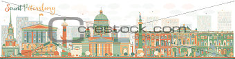Abstract Saint Petersburg skyline with color landmarks