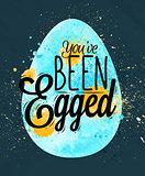 Happy easter egg poster blue