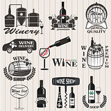Set of wine signs, badges
