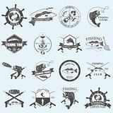 Set of vintage fishing labels, badges and design elements.