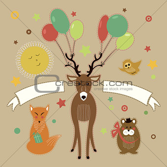 Greeting card with forest friends