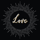 Retro sunburst with love lettering