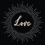 Retro sunburst with love lettering