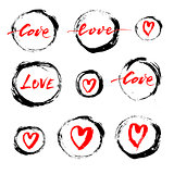 Set of vector grunge ink circles and hearts