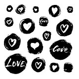 Set of vector grunge ink circles and hearts with handlettering