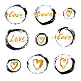 Set of vector grunge ink circles with golden hearts and lettering