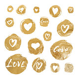 Set of vector gold foil circles with hand drawn hearts and lettering for Valentines Day