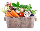 Harvest vegetables in wooden basket