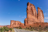 Road along the courthouse towers in Arches National Park