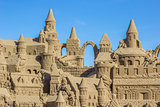 Sand castle with several towers
