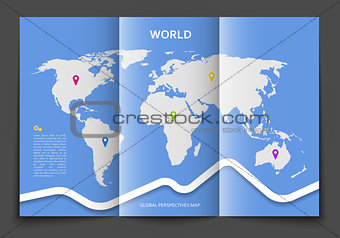 Brochure with world map