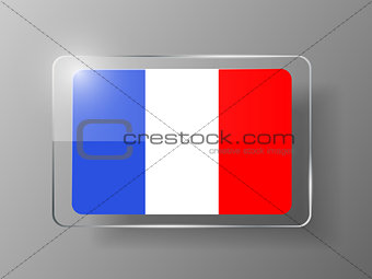 France Flag Glossy Button. Vector illustration.