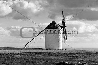 old windmill in Campo de Criptana, Spain, black and white