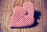 hearts on a rustic wooden surface