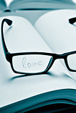 eyeglasses and word love in a notebook, in duotone