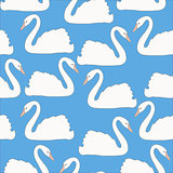 Swan couples on blue background vector seamless pattern, background, wallpaper