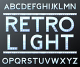 vector silver alphabet with bulb lamps