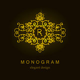Stylish elegant monogram, mono line art design logo