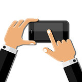 Hands holding mobile phone. Flat design
