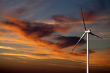 Wind turbine and sunset sky